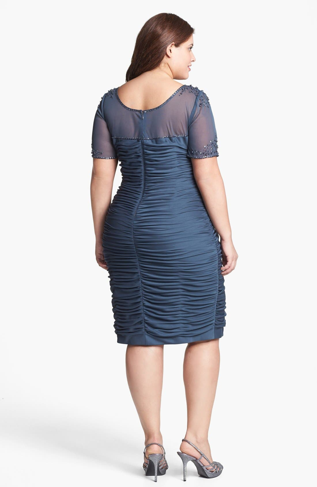 Alternate Image 2  - Adrianna Papell Beaded Illusion Ruched Dress (Plus Size)