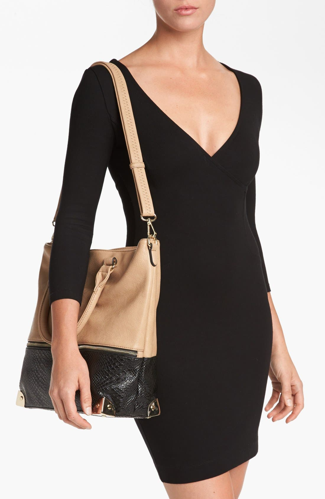 Alternate Image 2  - Emperia Snake-Embossed Faux Leather Tote (Juniors)