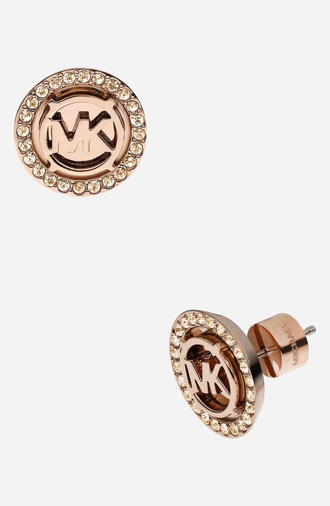 Michael Kors 'Monogram' Stud Earrings,                             Main thumbnail 1, color,                             Rose Gold/ Gold Quartz