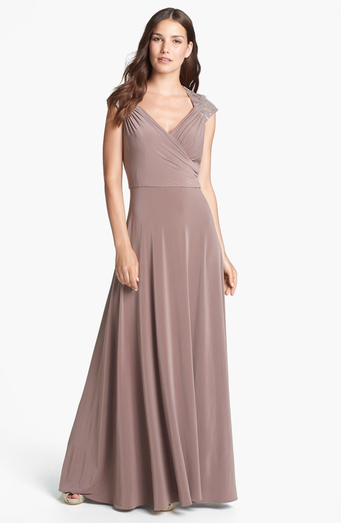 Main Image - Patra Embellished Sequin Yoke Jersey Gown (Regular & Petite)