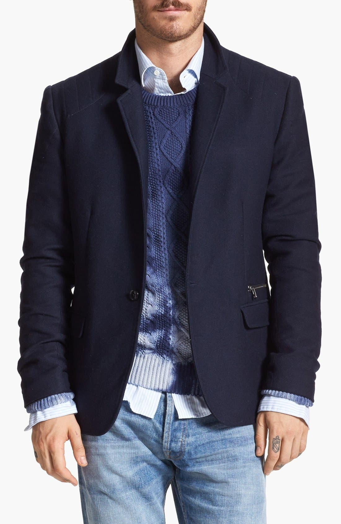 Main Image - Edun Moto Stitch Sportcoat