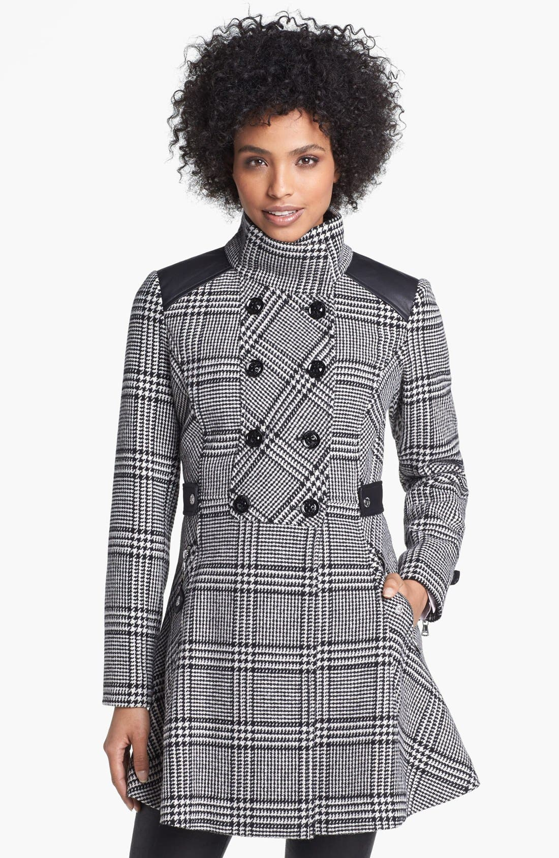Alternate Image 1 Selected - GUESS Houndstooth Plaid Coat