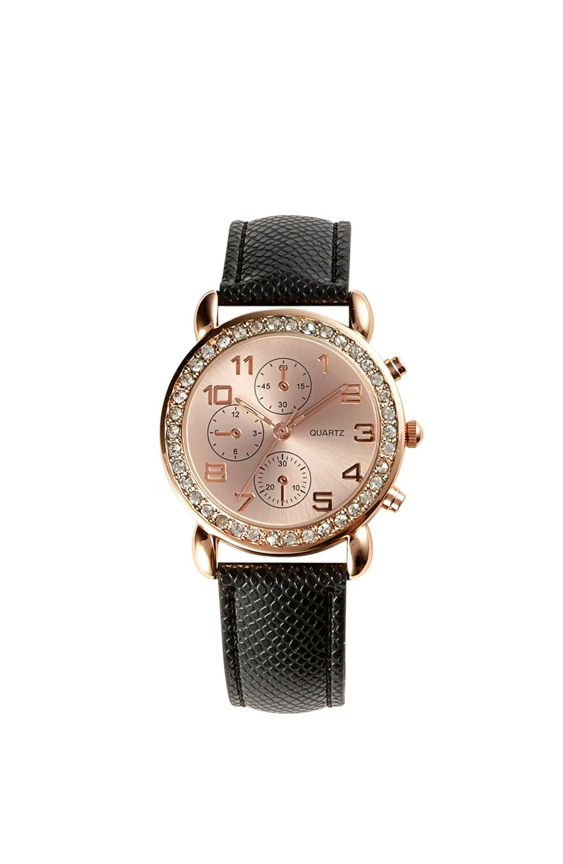 Main Image - Titanium Rhinestone Diver Watch, 35mm (Juniors)