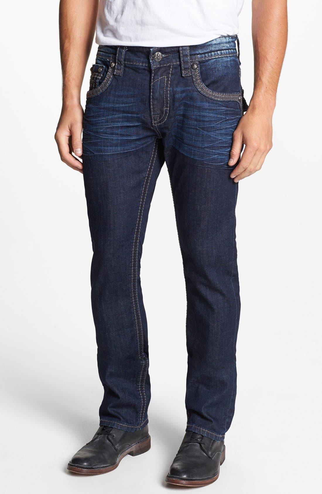 Alternate Image 2  - Rock Revival 'Ben' Alternative Straight Leg Jeans (Dark Blue )