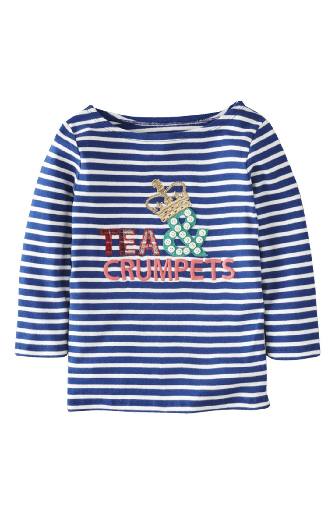 Main Image - Mini Boden 'Stripy' Appliqué' Boatneck Tee (Toddler Girls)