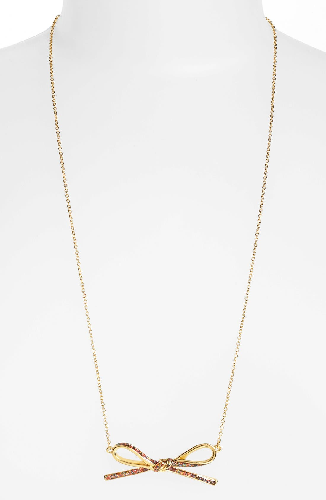 Main Image - kate spade new york 'skinny mini' long bow pendant necklace