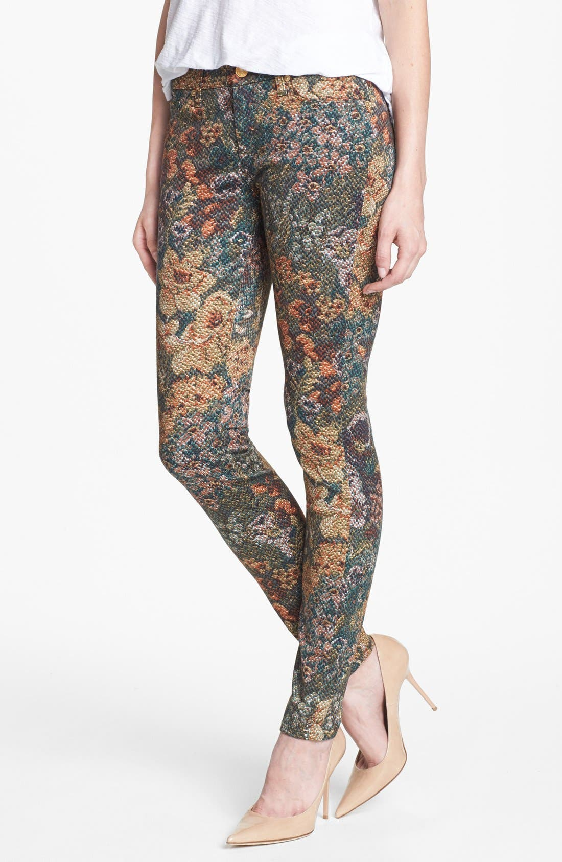 Main Image - 7 For All Mankind® 'The Skinny' Print Skinny Jeans (Digital Tapestry)