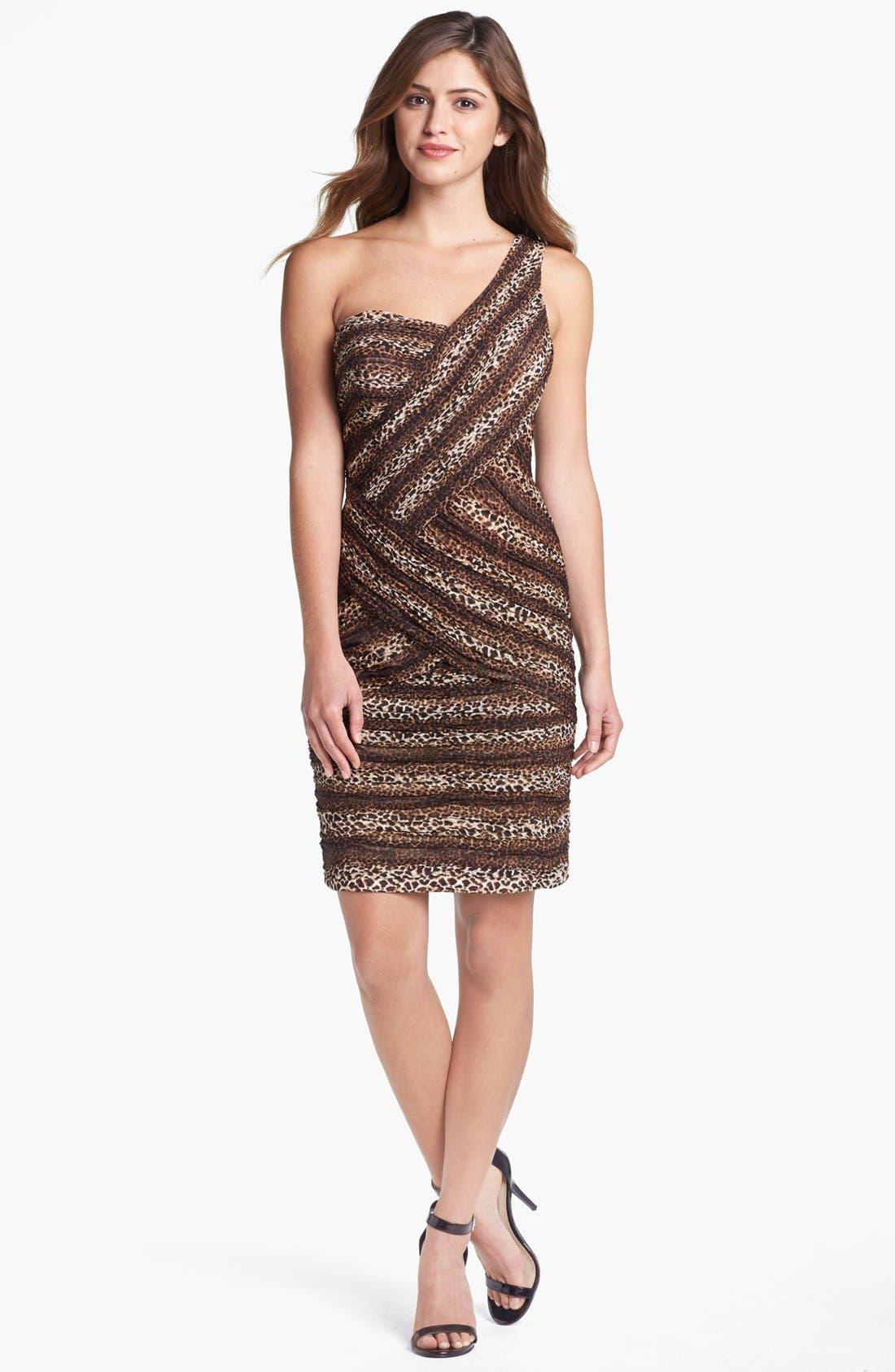 Alternate Image 1 Selected - Sue Wong Animal Print One-Shoulder Sheath Dress