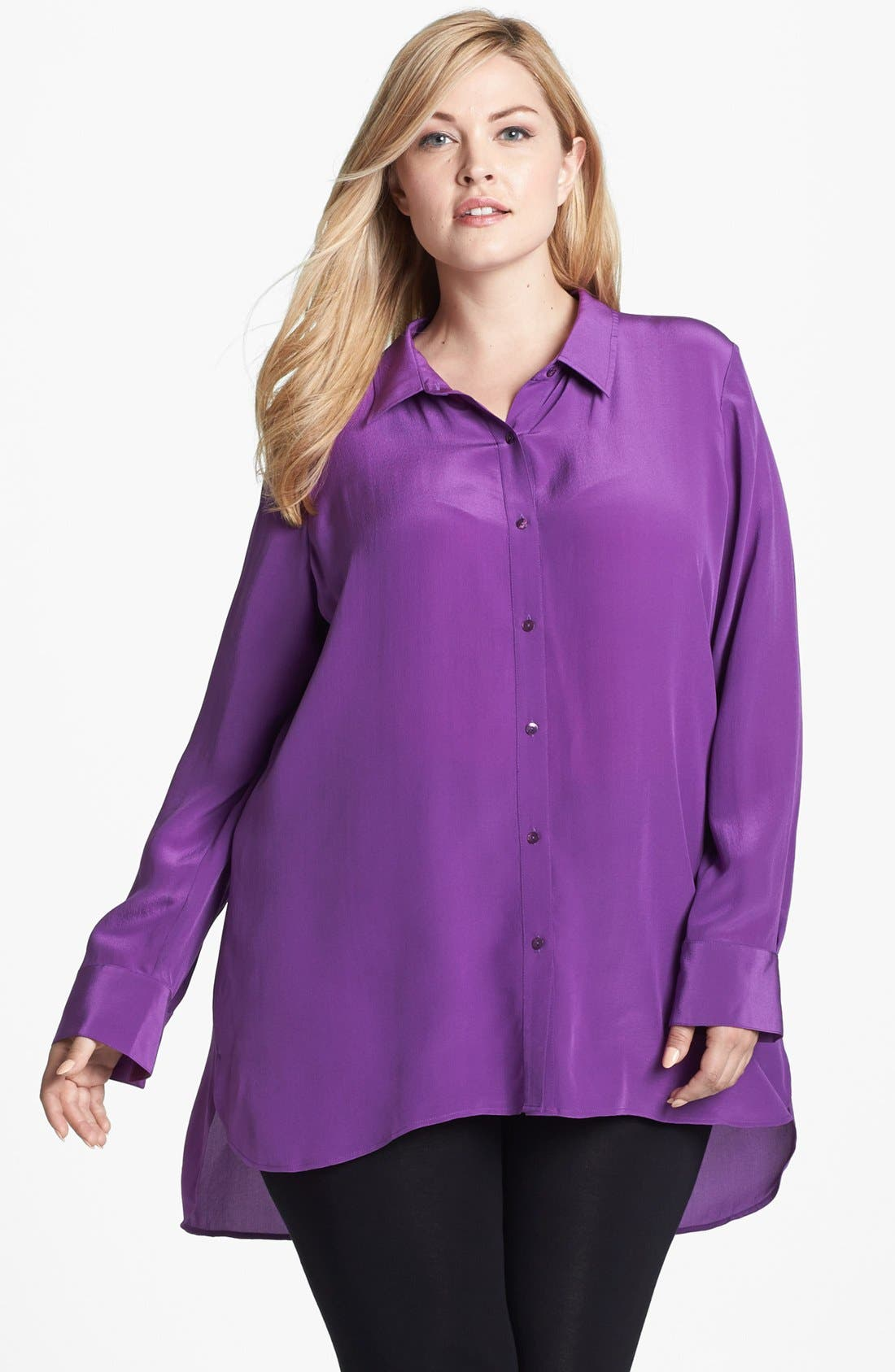 Main Image - Eileen Fisher Side Slit Silk Tunic (Plus Size)