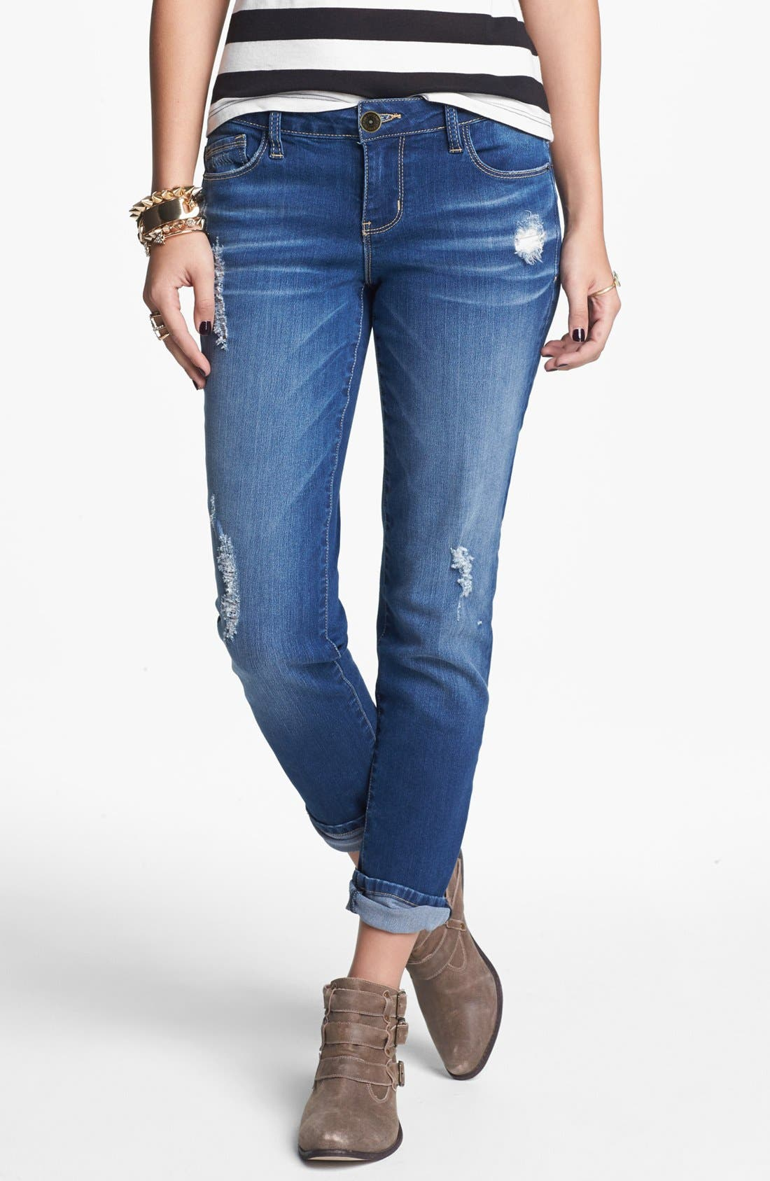 Alternate Image 1 Selected - Jolt Destroyed Crop Skinny Jeans (Medium) (Juniors)