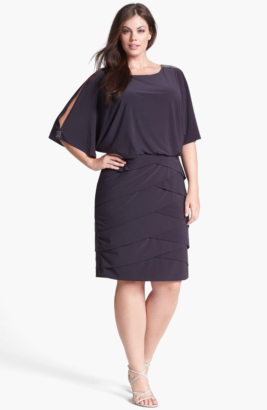 Main Image - Xscape Embellished Cold Shoulder Blouson Dress
