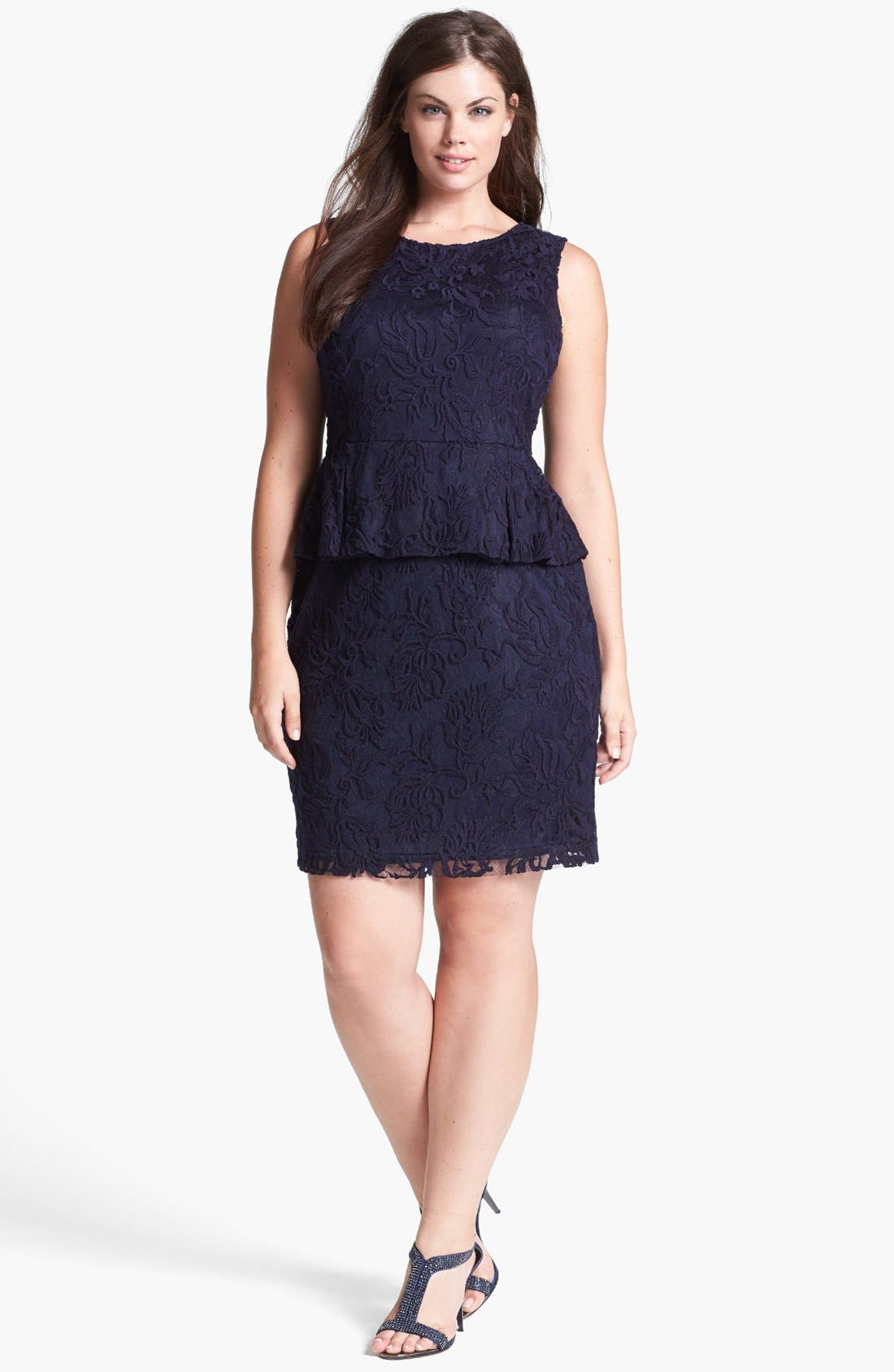 Alternate Image 1 Selected - Adrianna Papell Lace Peplum Sheath Dress (Plus Size)