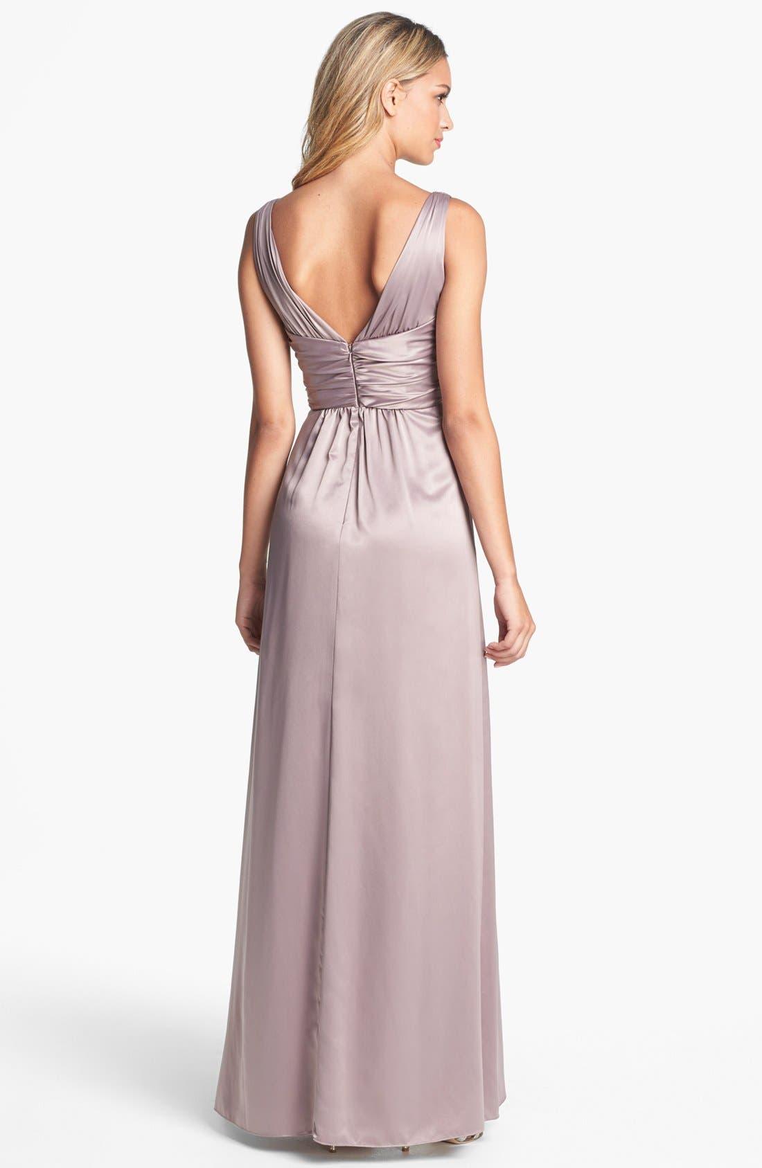 Alternate Image 2  - Amsale Long Charmeuse Dress