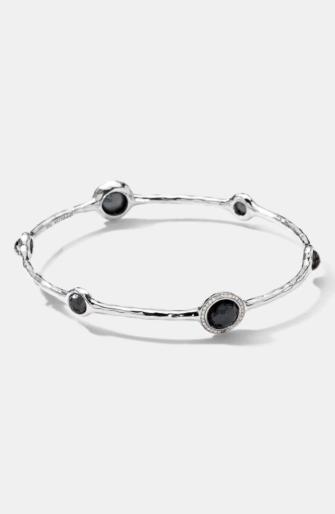 'Stella' 6-Stone & Diamond Bangle,                         Main,                         color, Silver/ Hematite