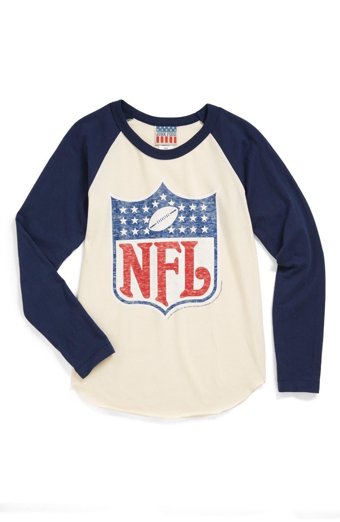 Alternate Image 1 Selected - Junk Food 'NFL Shield' Raglan Long Sleeve T-Shirt (Little Boys & Big Boys)