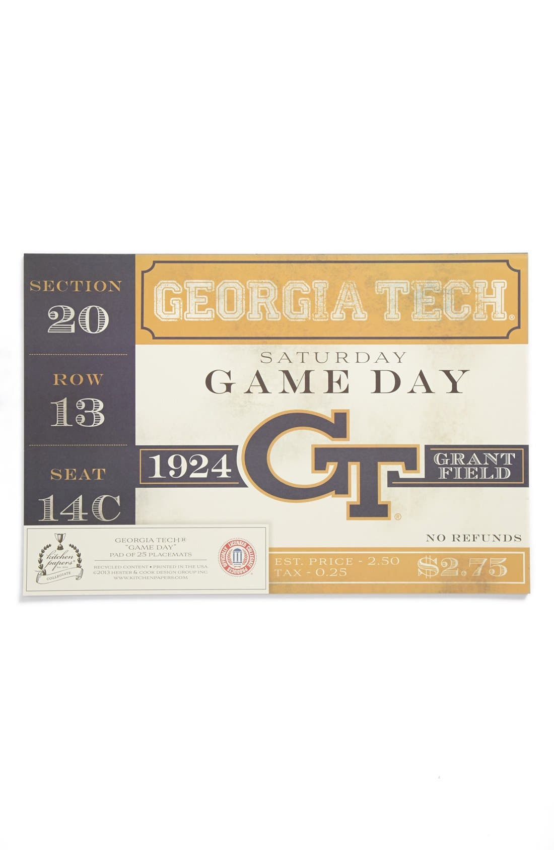 Alternate Image 1 Selected - Kitchen Papers by Cake 'Vintage Ticket - Georgia Tech' Paper Placemat Pad