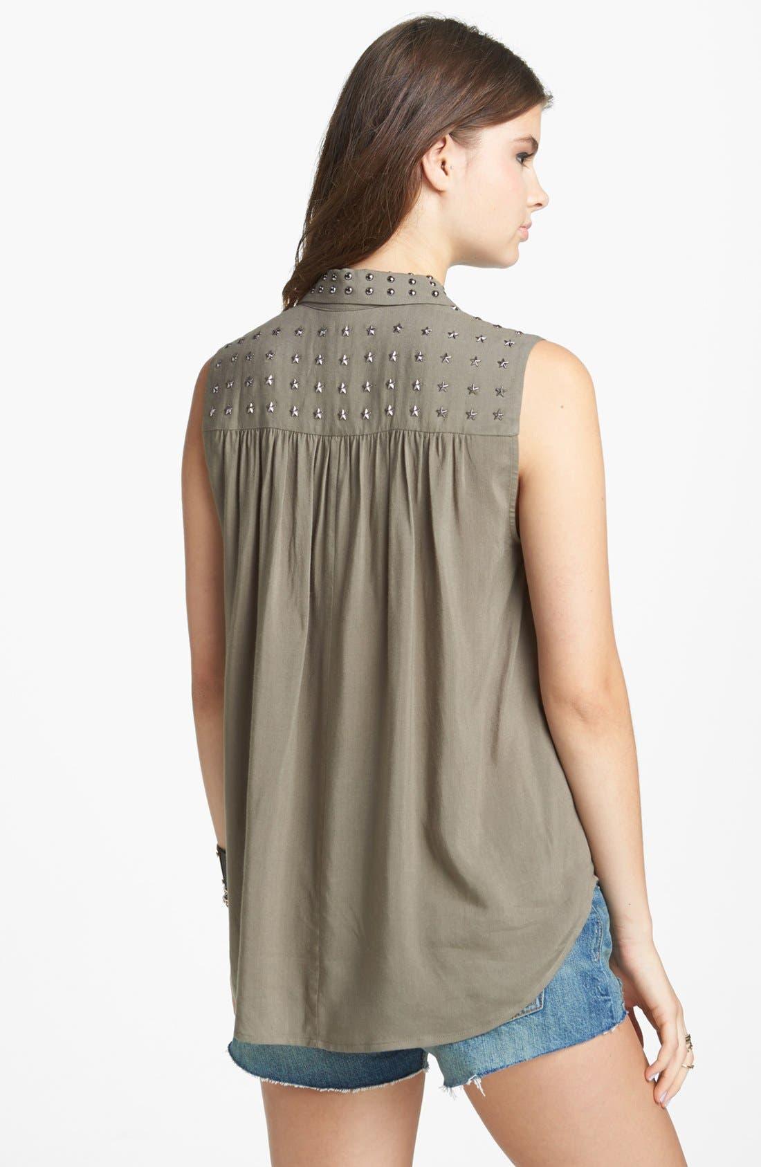 Alternate Image 2  - Chloe K Studded Yoke Sleeveless Shirt (Juniors)