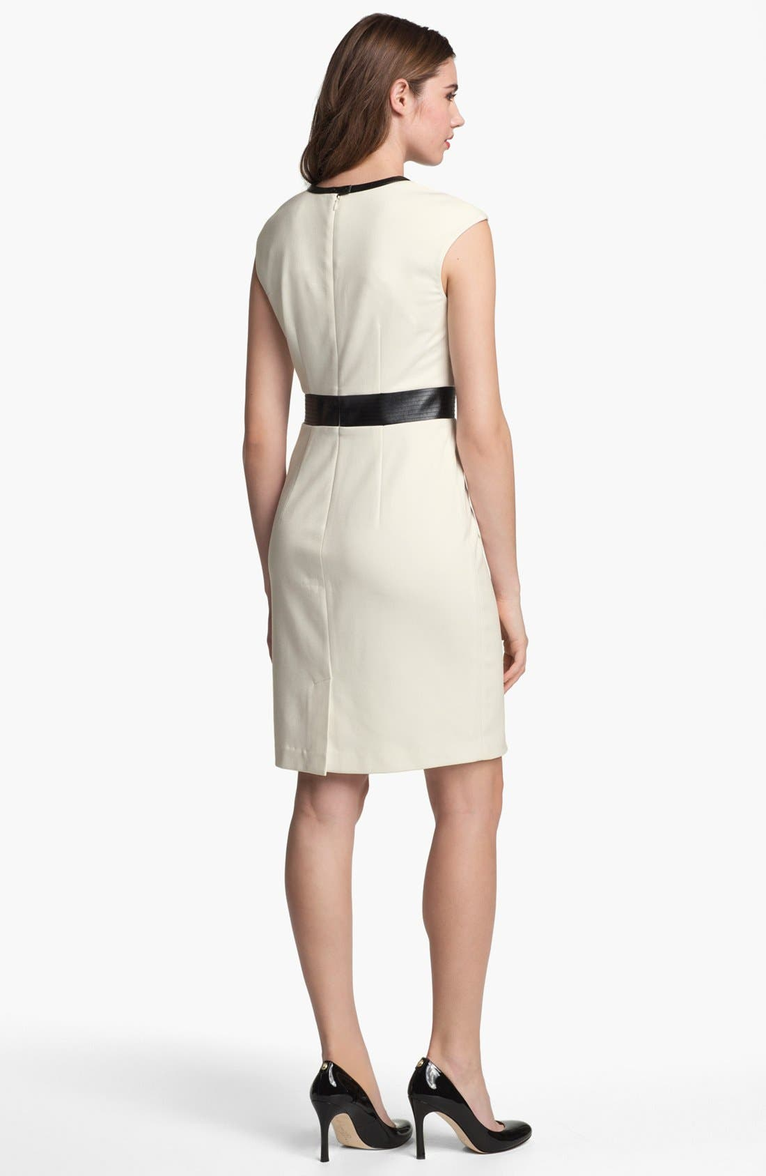 Alternate Image 2  - Calvin Klein Faux Leather Trim Ponte Sheath Dress (Online Only)