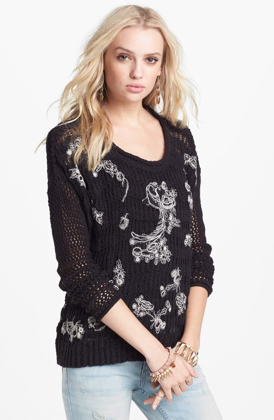 Alternate Image 1 Selected - Free People Embroidered Appliqué Pullover