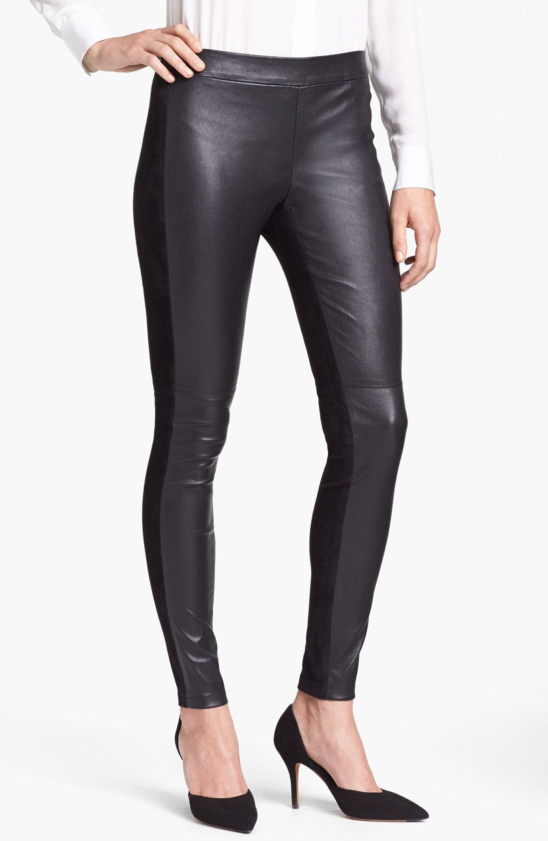 Alternate Image 1 Selected - Vince Leather & Suede Contrast Leggings