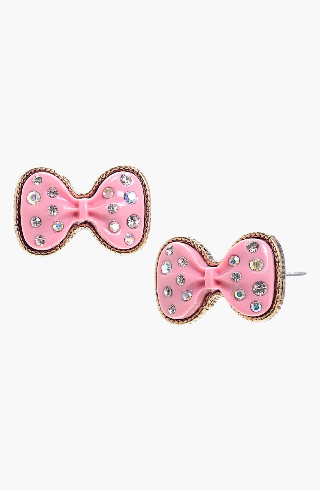 Alternate Image 1 Selected - Betsey Johnson Glitter Bow Stud Earrings