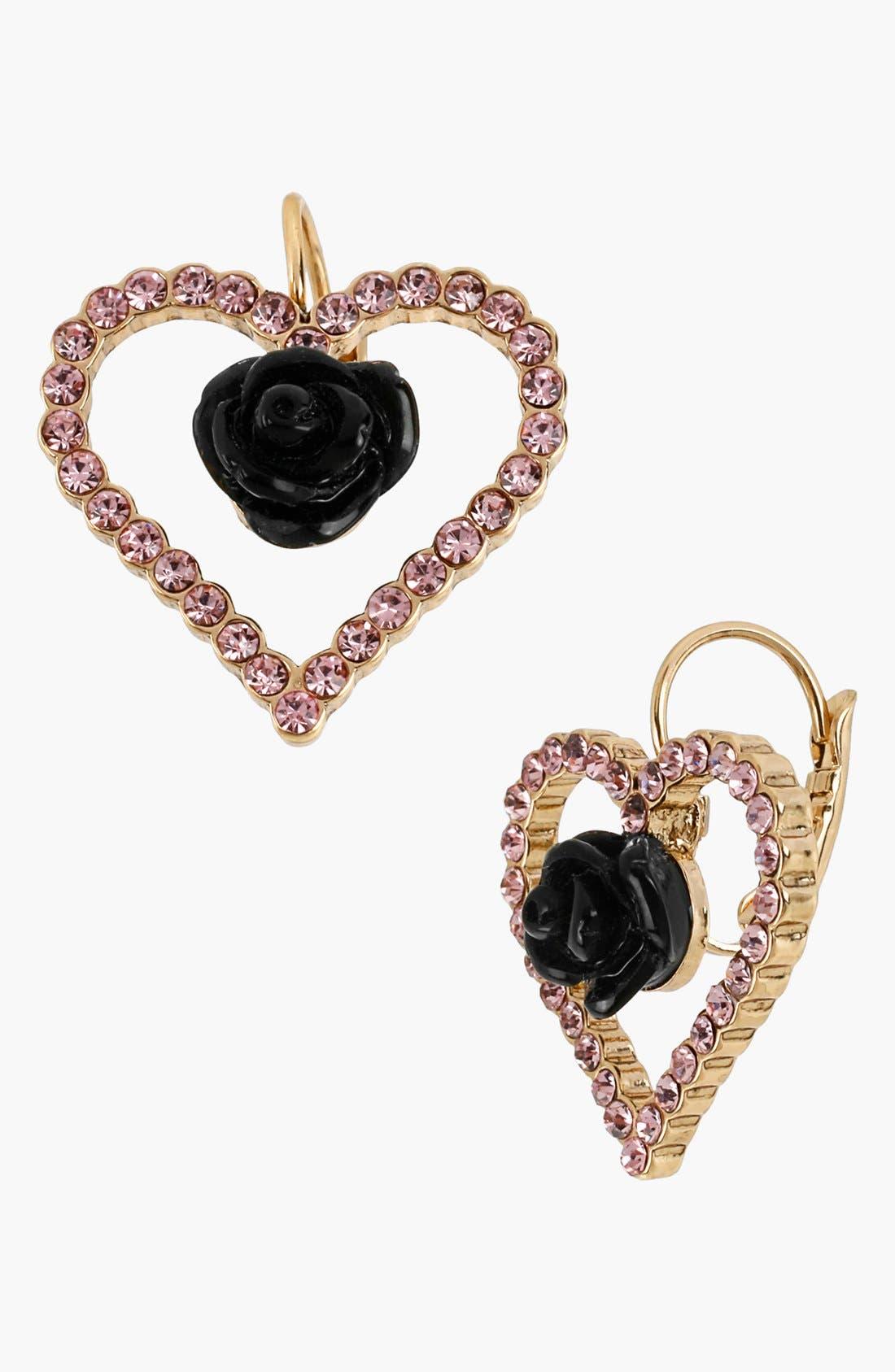 Main Image - Betsey Johnson 'Paris' Open Heart Drop Earrings