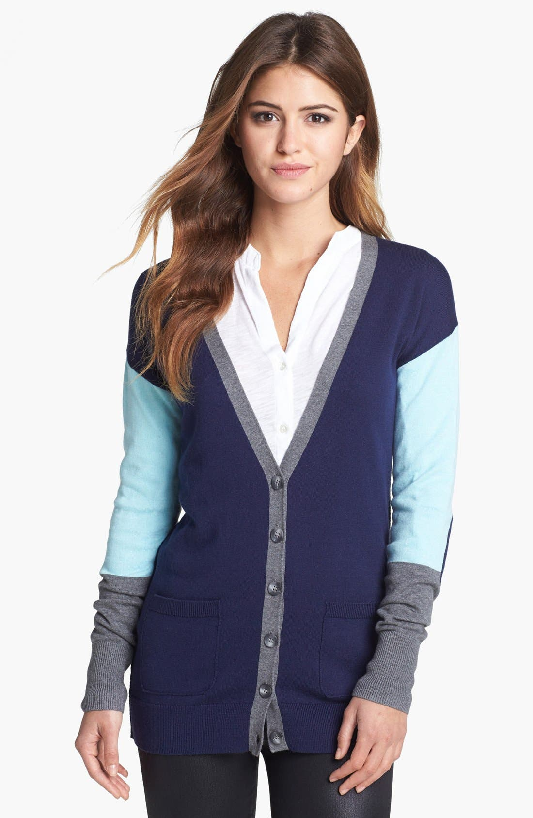 Main Image - Halogen® Colorblock V-Neck Cardigan