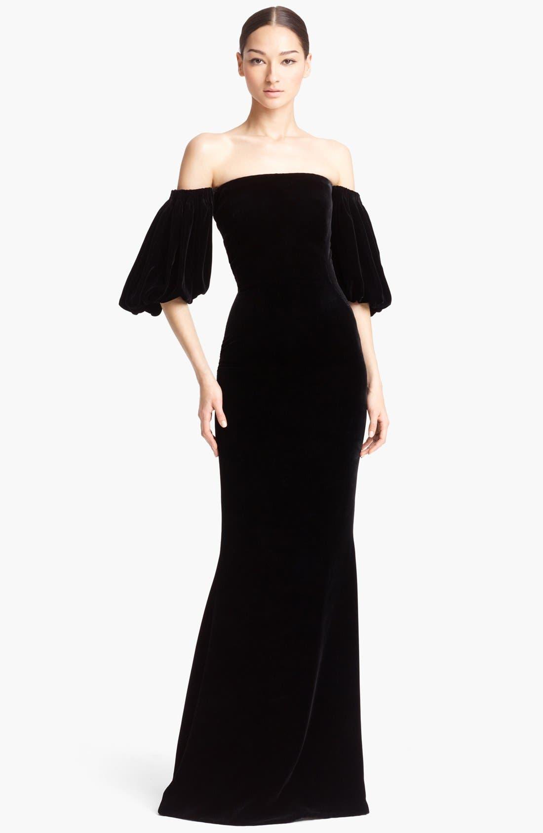 Alternate Image 1 Selected - Alexander McQueen Off Shoulder Velvet Gown