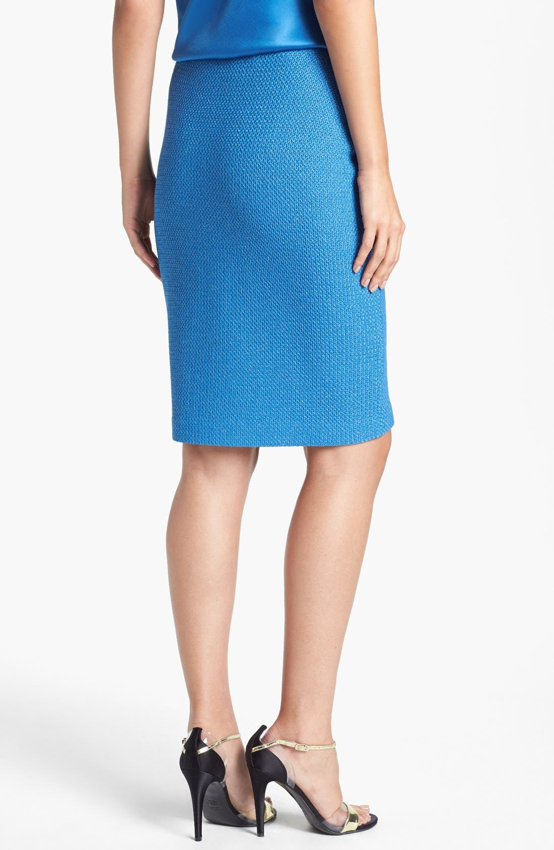Alternate Image 2  - St. John Collection Metallic Lattice Knit Pencil Skirt