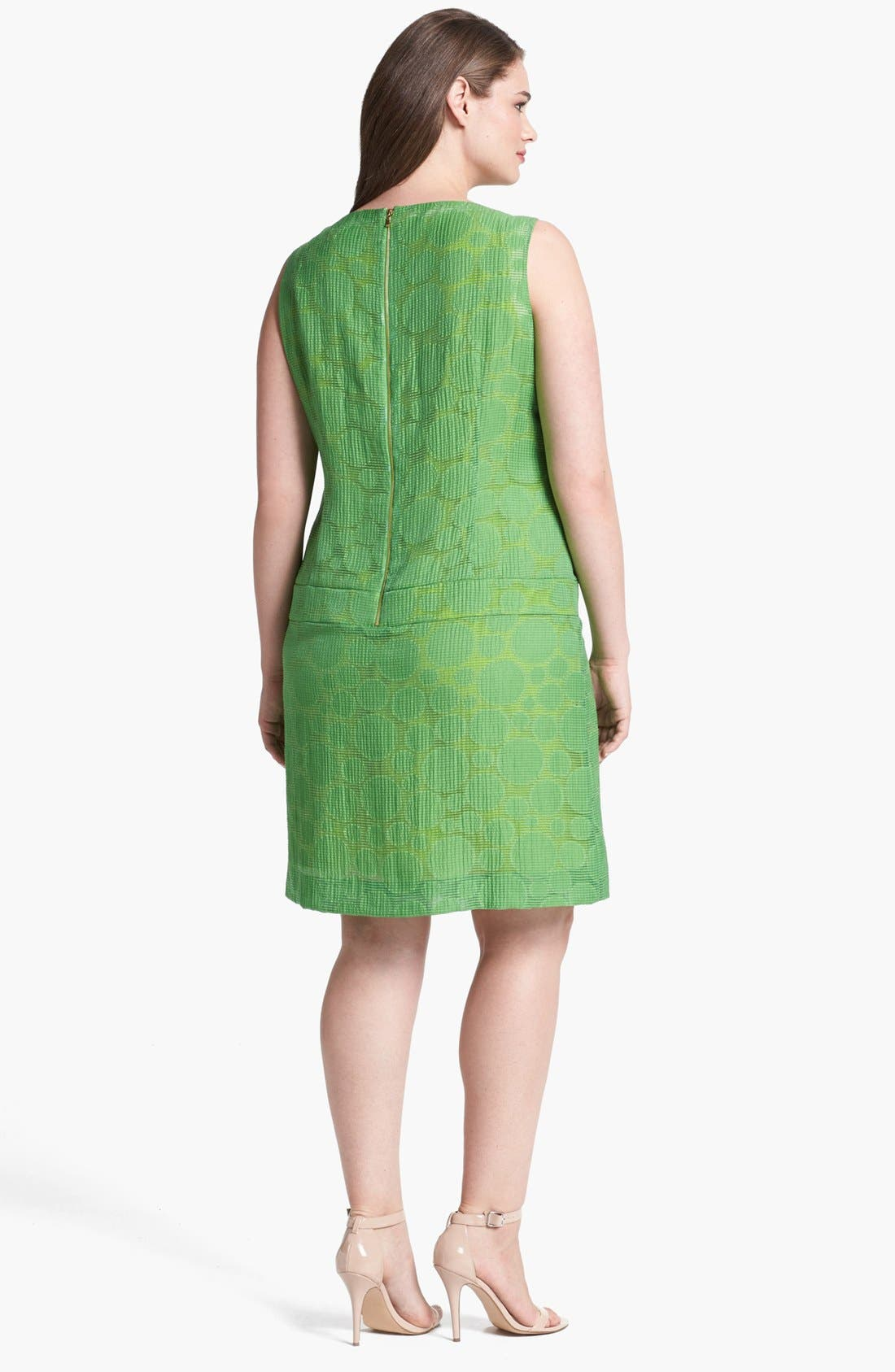 Alternate Image 2  - Tahari Jacquard Drop Waist Shift Dress (Plus Size)
