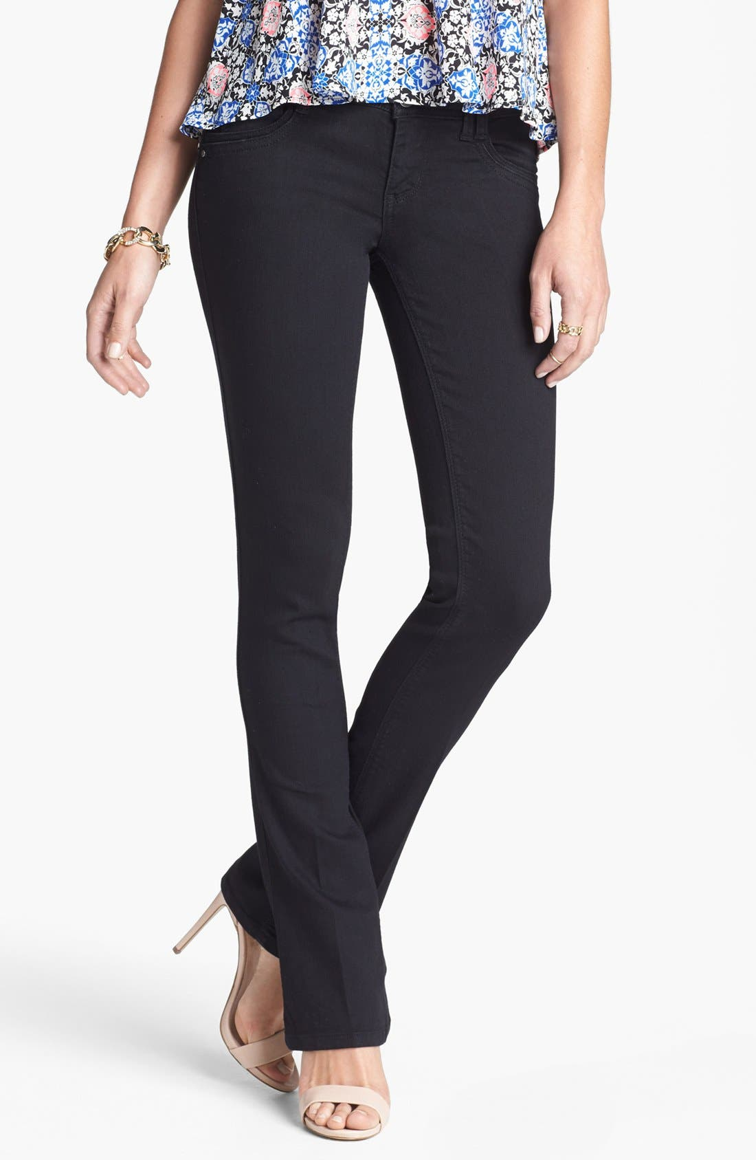 Alternate Image 1 Selected - Jolt Stretch Bootcut Jeans (Black) (Juniors) (Online Only)