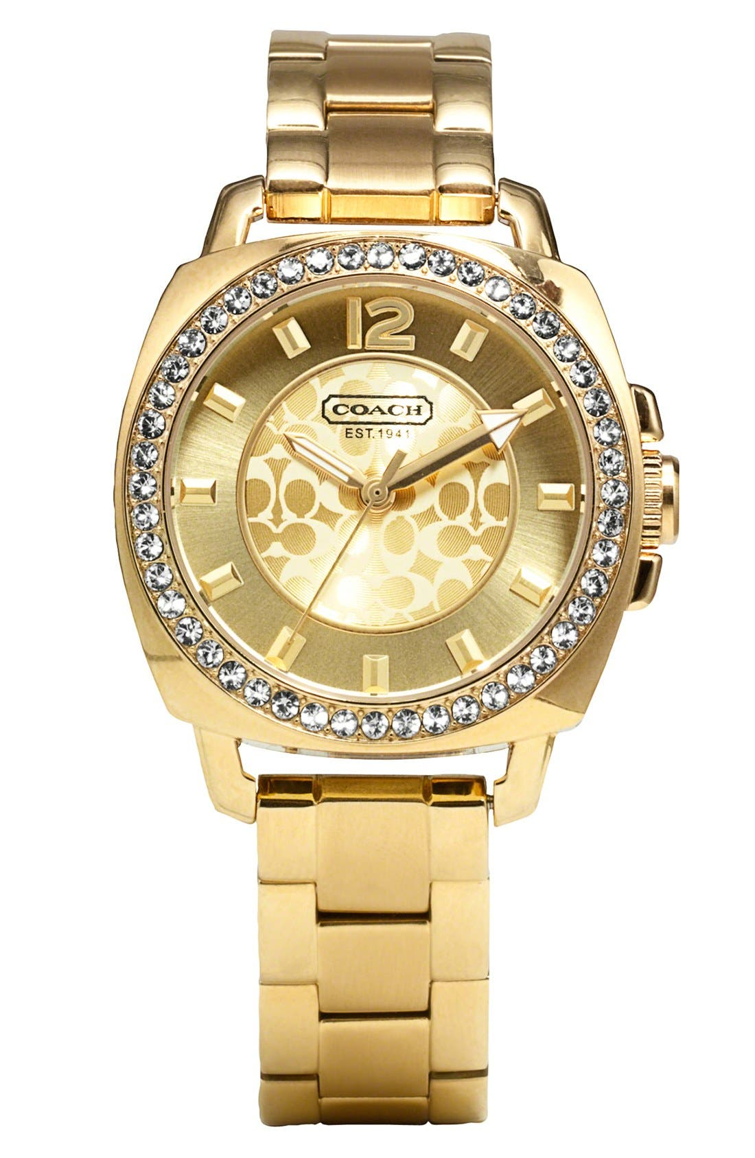 Main Image - COACH 'Boyfriend' Crystal Bezel Bracelet Watch, 34mm