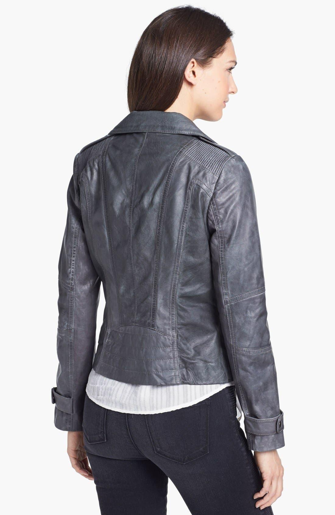 Asymmetrical Leather Moto Jacket,                             Alternate thumbnail 4, color,                             Grey