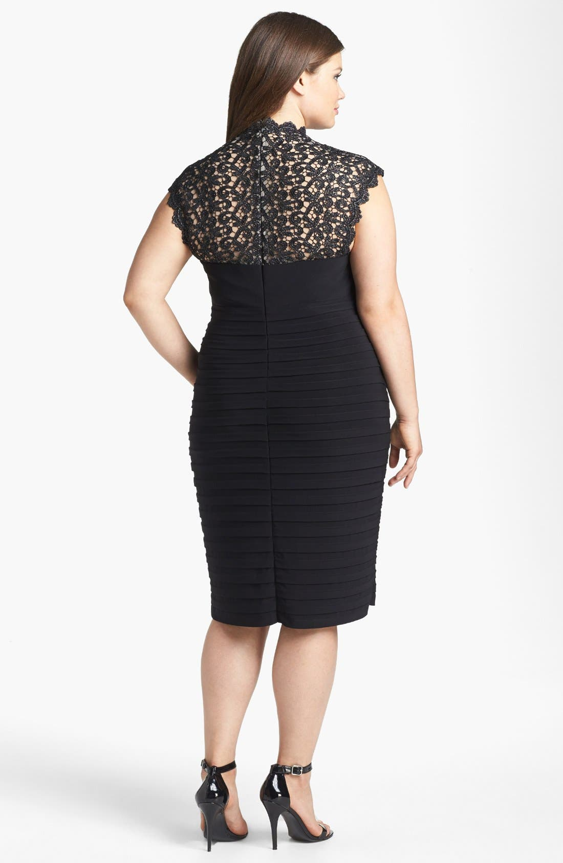 Alternate Image 2  - Xscape Lace Yoke Banded Sheath Dress (Plus Size)