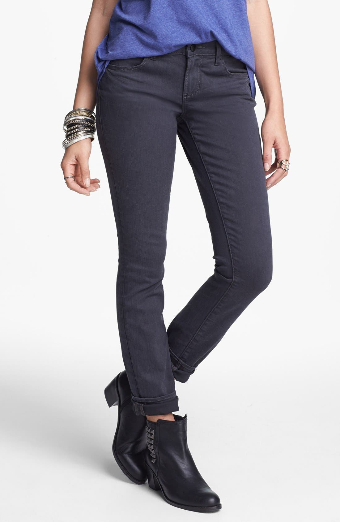 Main Image - Articles of Society 'Mya' Stretch Skinny Jeans (Charcoal) (Juniors)