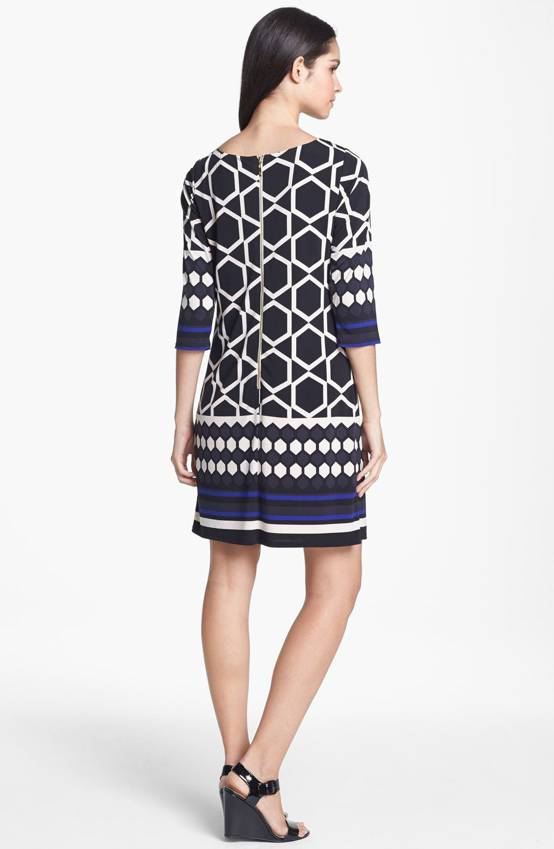 Alternate Image 2  - Eliza J Border Print Jersey Shift Dress