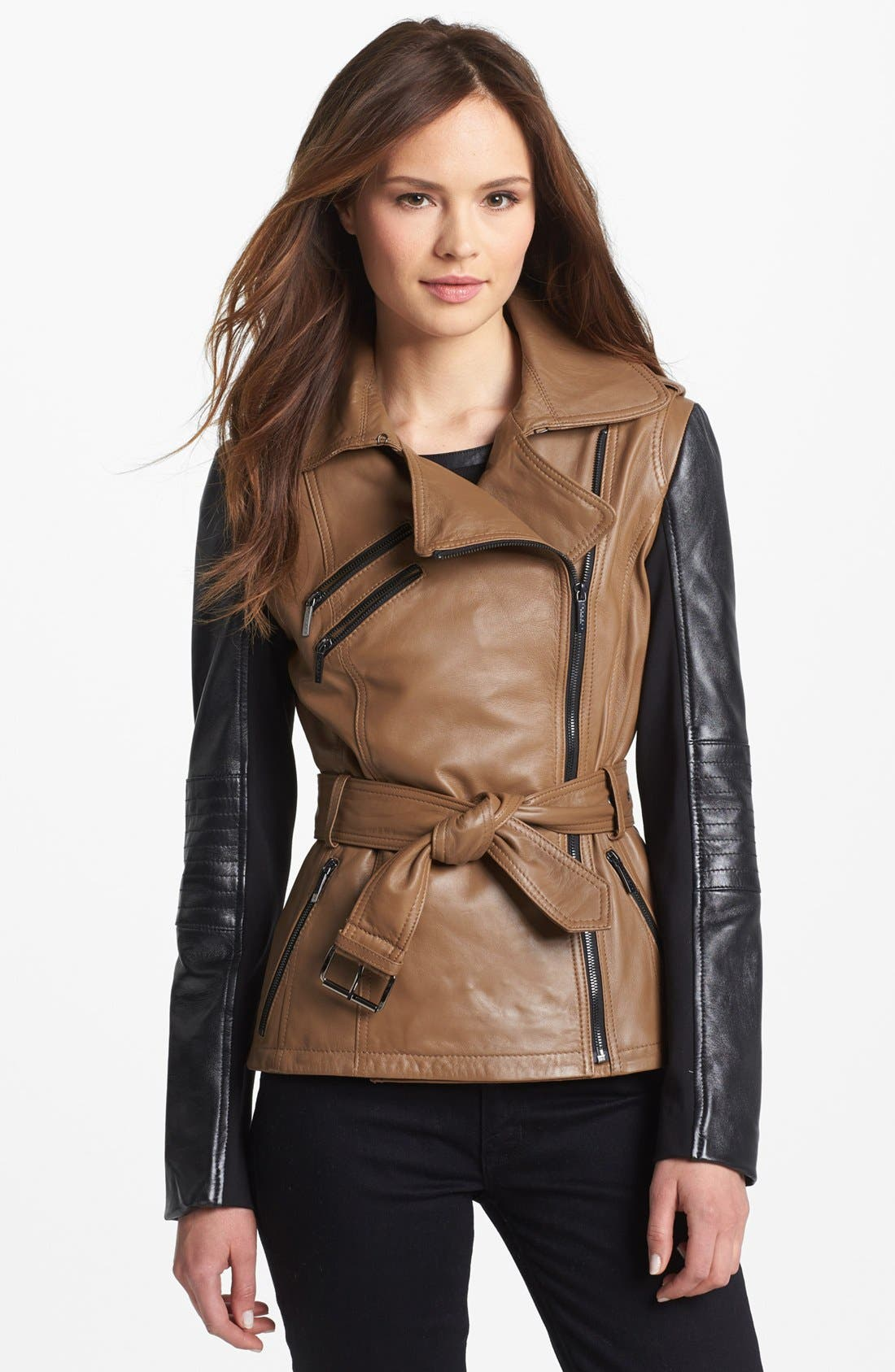 Main Image - Laundry by Shelli Segal Two Tone Leather Moto Jacket