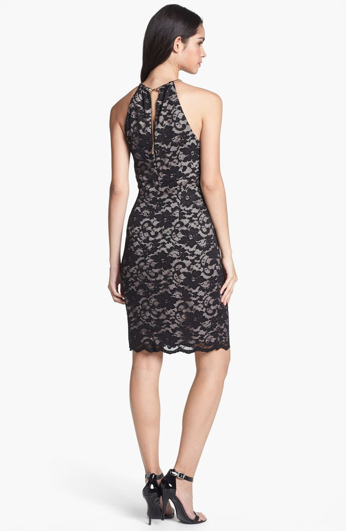 Alternate Image 2  - Eliza J Lace Metal Neckline Lace Sheath Dress