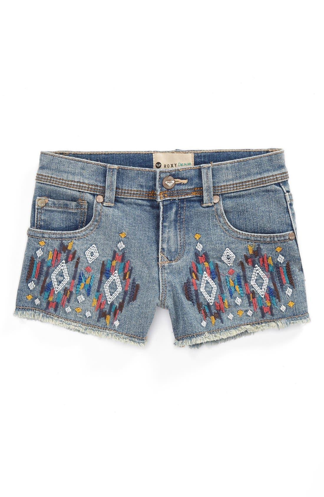 Alternate Image 2  - Roxy 'Blaze' Denim Shorts (Little Girls)