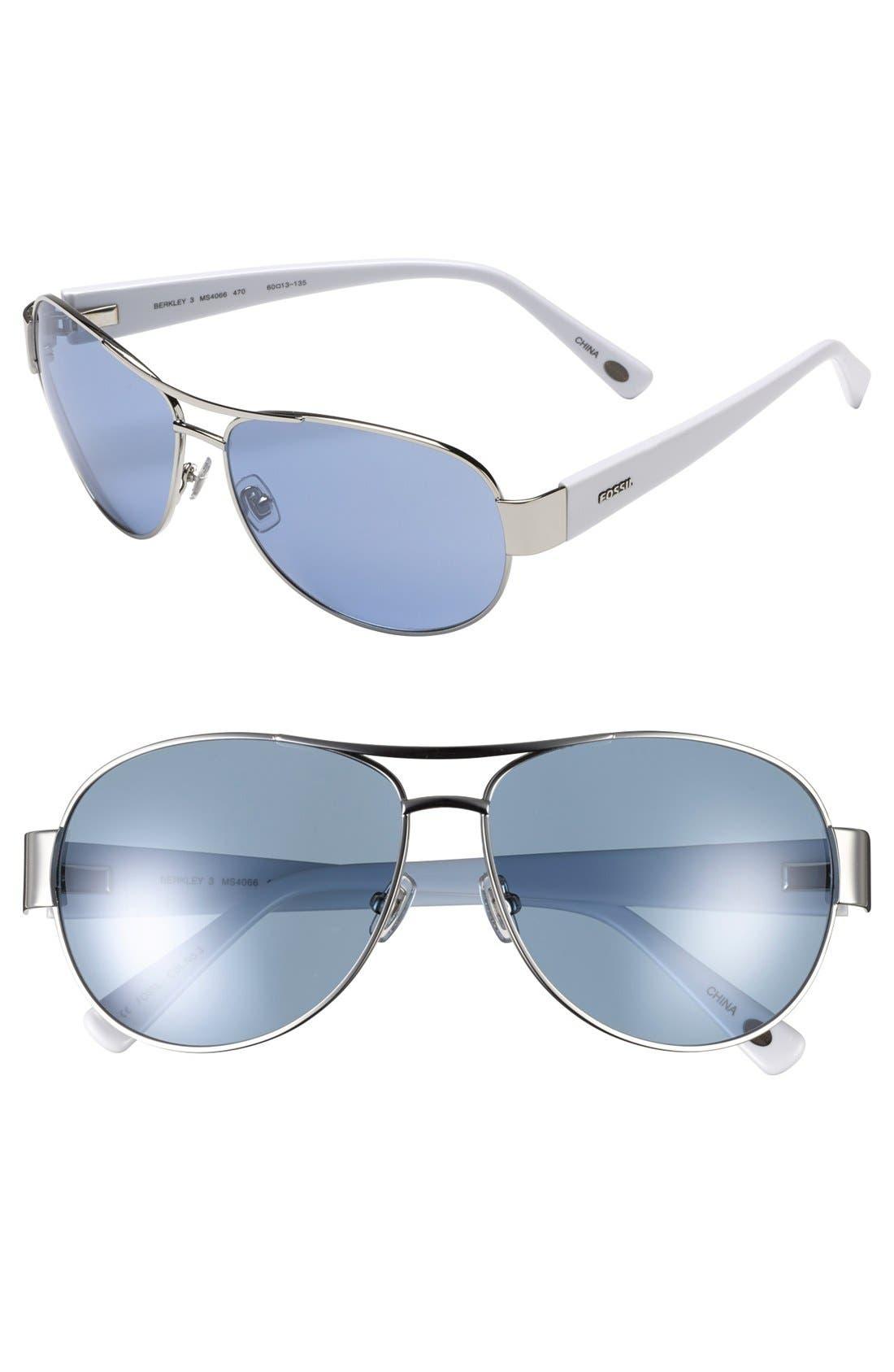 Main Image - Fossil 'Berkley 3' 60mm Aviator Sunglasses