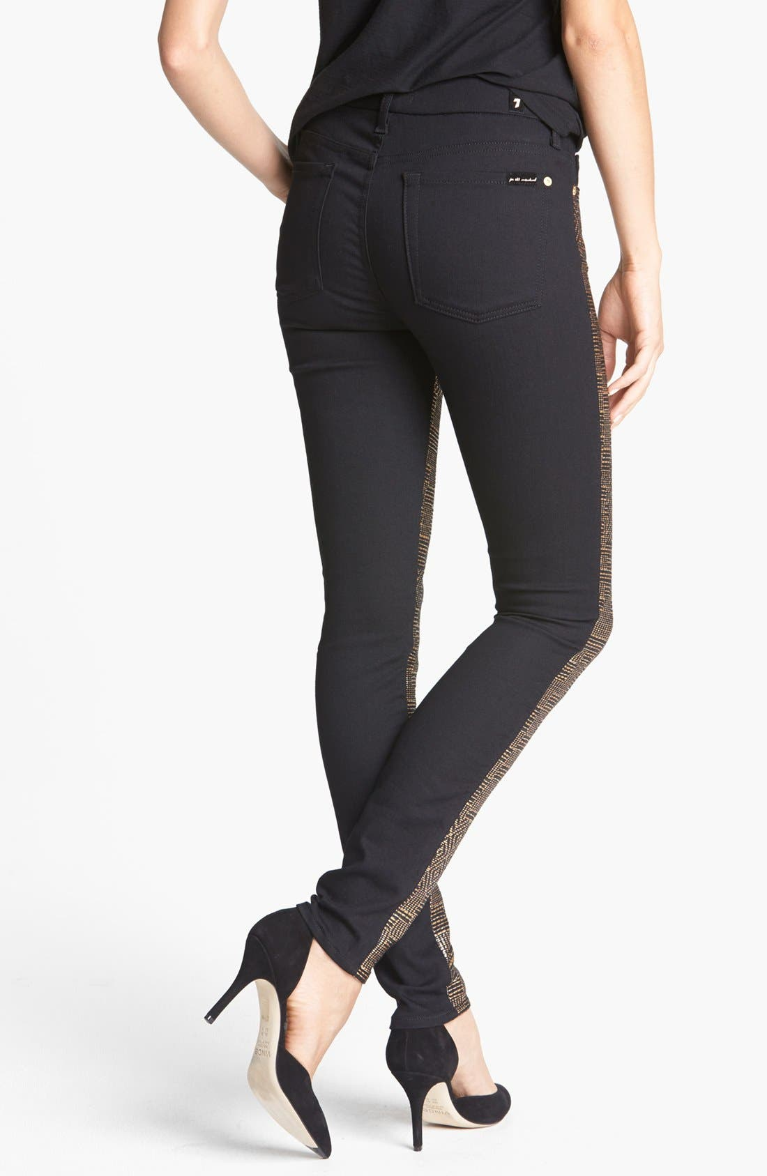 Alternate Image 2  - 7 For All Mankind® 'Malhia Kent - The Pieced Skinny' Jacquard Jeans (Egyptian Gold Tweed)
