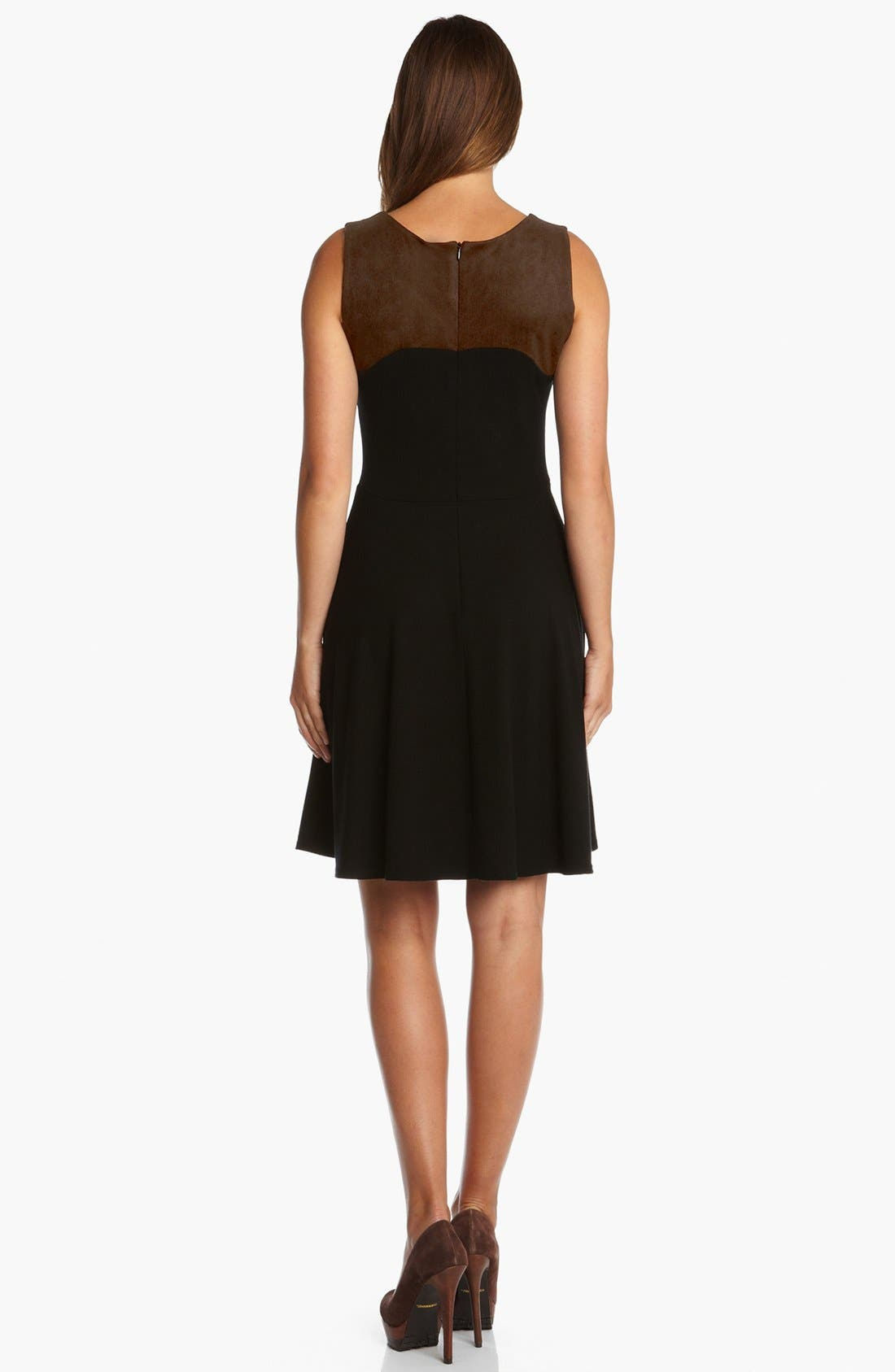 Alternate Image 2  - Karen Kane Faux Suede Panel Flare Dress