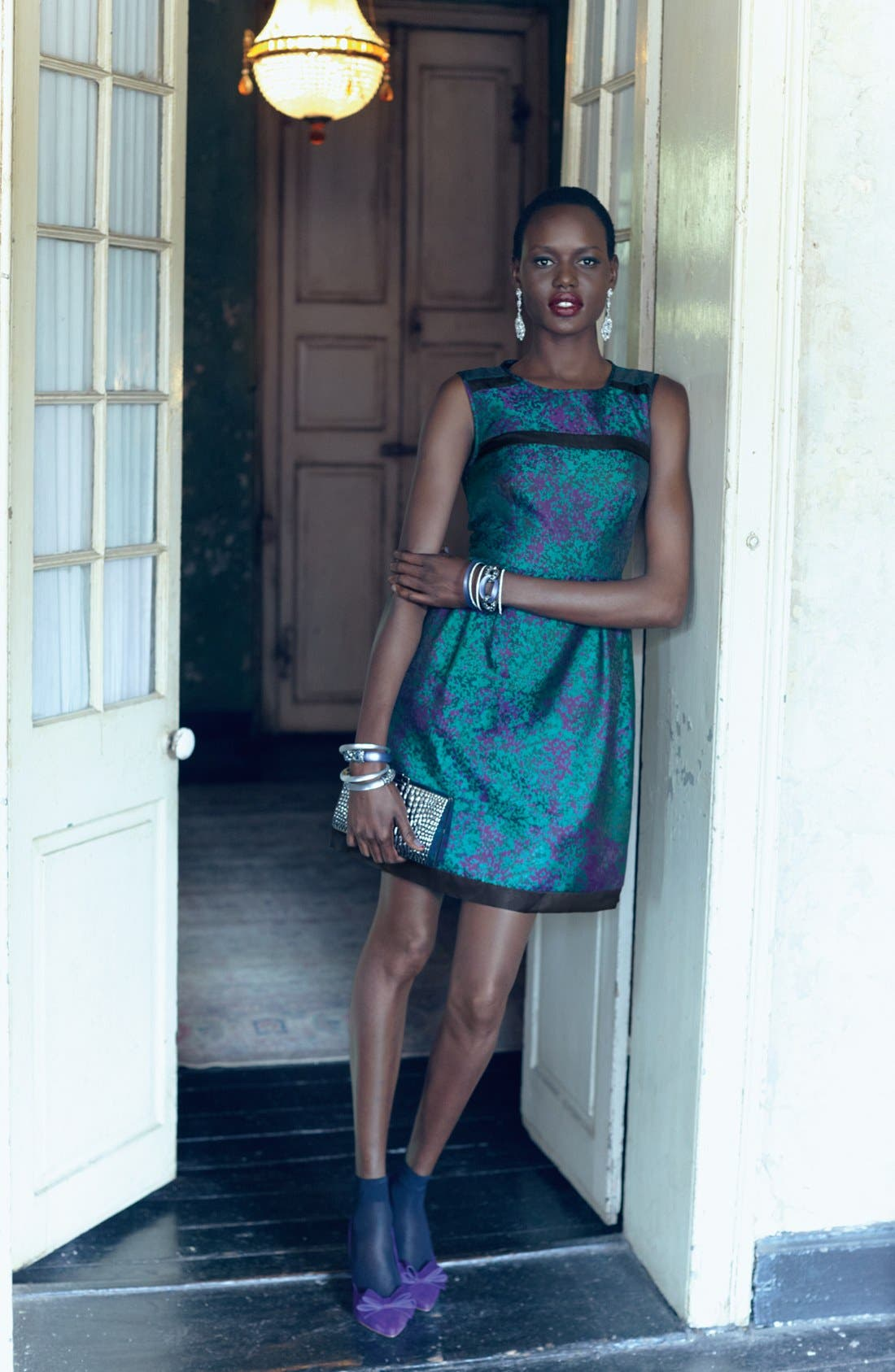 Main Image - Ivy & Blu for Maggy Boutique Brocade Dress & Accessories