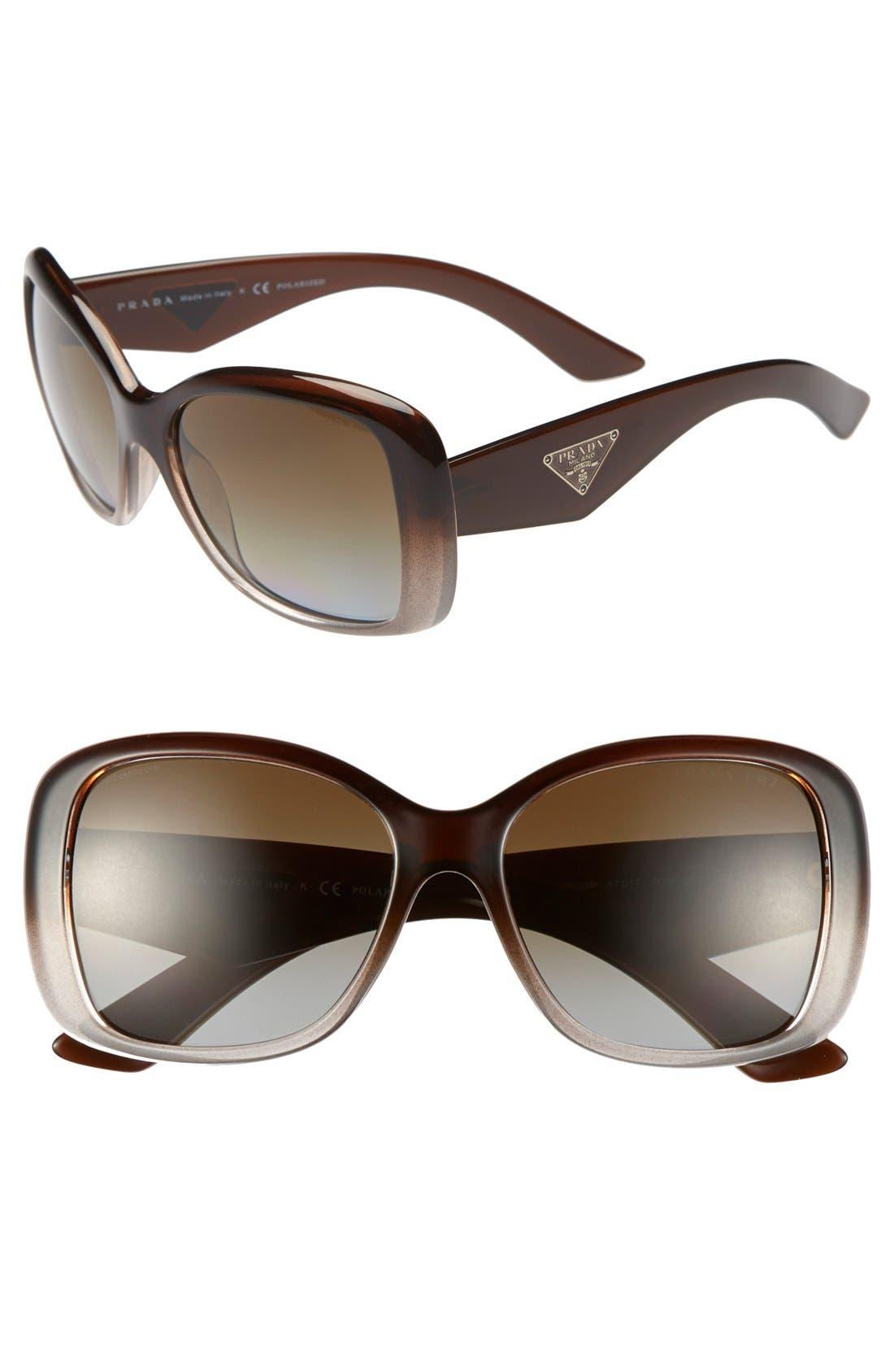 Alternate Image 1 Selected - Prada 'Oversized Glam' 57mm Polarized Sunglasses