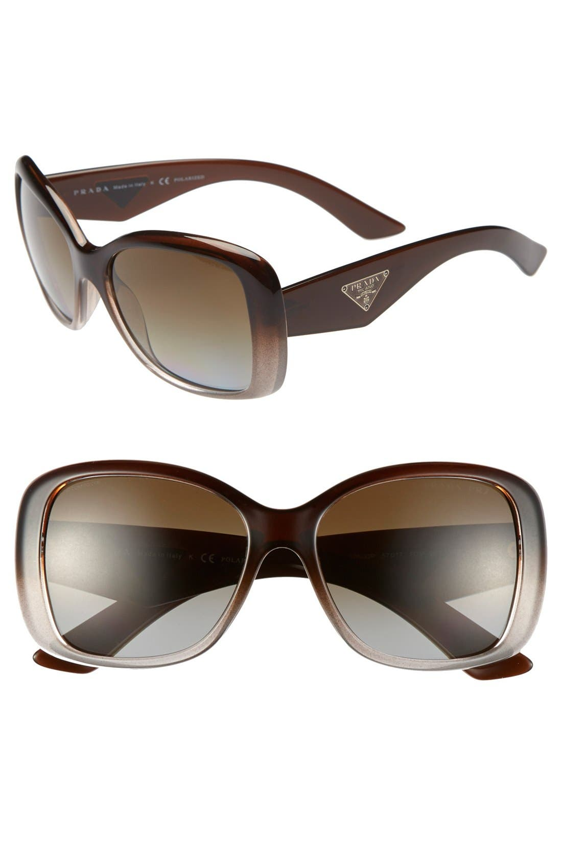 Main Image - Prada 'Oversized Glam' 57mm Polarized Sunglasses