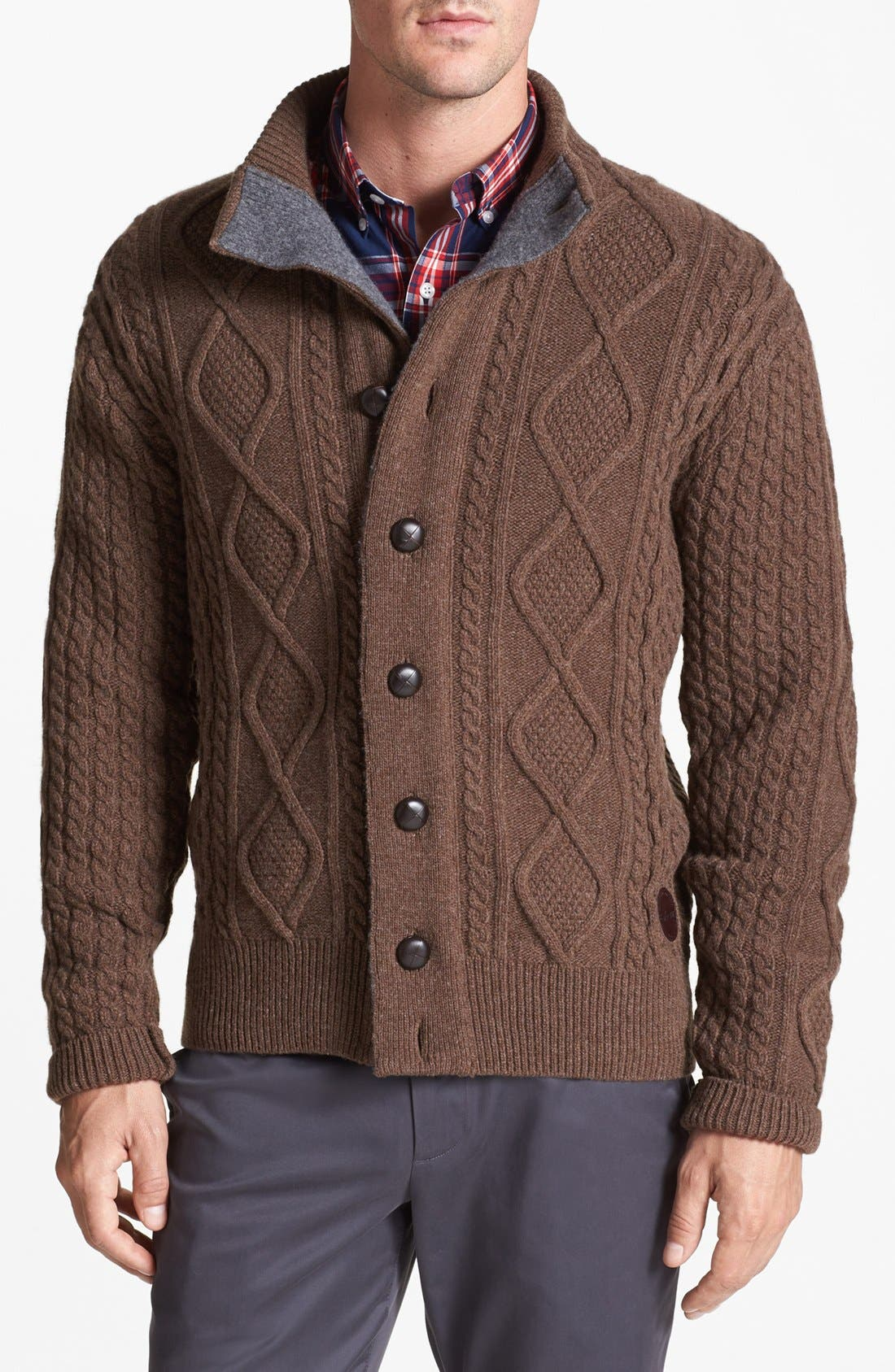 Main Image - Barbour Cable Knit Button Sweater & Bonobos Straight Leg Chinos