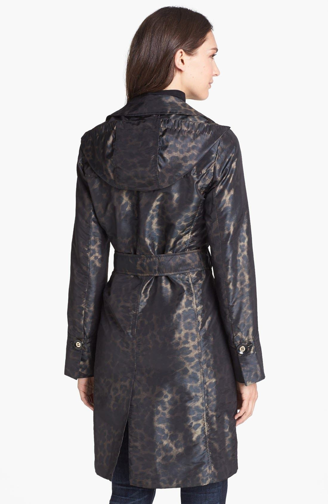 Alternate Image 2  - Ellen Tracy Belted Leopard Print Raincoat (Online Only)