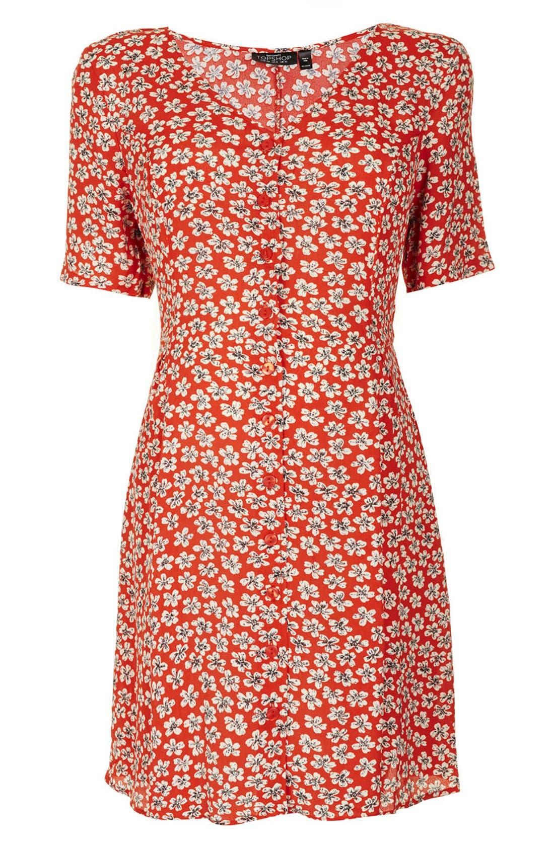 Main Image - Topshop 'Daisy' Floral Maternity Tea Dress