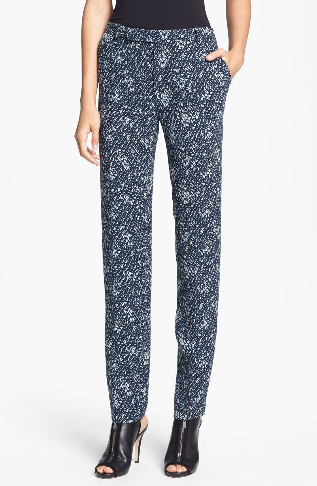 Dragon Scale Print Crepe Pants,                         Main,                         color, Duck Blue