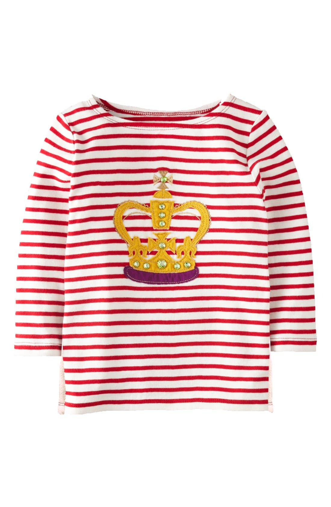 Main Image - Mini Boden 'Stripe Appliqué' Boatneck Tee (Little Girls & Big Girls)